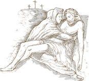 Moeder Mary dode Jesus-Christus vector illustratie