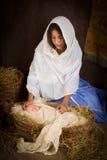 Moeder Mary in geboorte van Christusscène Stock Foto