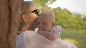 Moeder met baby het besteden de zomerdag in het park stock video
