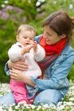 Moeder met baby in het park Stock Foto