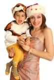 Moeder met baby in kostuum Stock Foto