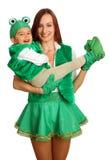 Moeder met baby in kostuums Royalty-vrije Stock Afbeelding