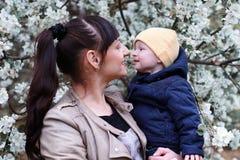 Moeder met baby in zonnige de dag bosboom van de de zomertuin Royalty-vrije Stock Afbeelding