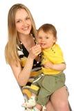 Moeder met babyjongen Stock Afbeelding