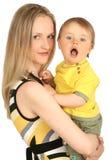 Moeder met babyjongen Stock Foto's