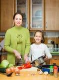 Moeder met dochter het koken bij keuken Royalty-vrije Stock Foto's