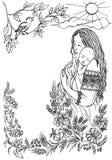 Moeder met een klein kind in haar wapens in openlucht Royalty-vrije Stock Foto's