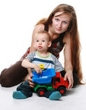 Moeder met geïsoleerdee baby Royalty-vrije Stock Fotografie