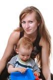 Moeder met geïsoleerdes baby Royalty-vrije Stock Foto