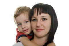 Moeder met haar geliefde zoon Stock Afbeeldingen