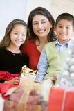 Moeder met Haar Giften van Kerstmis van de Holding van de Familie royalty-vrije stock foto