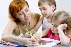 Moeder met haar kinderen Royalty-vrije Stock Foto