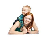 Moeder met haar zoon Stock Foto's