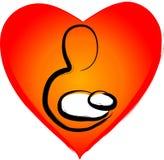 Moeder met kind op een hartachtergrond stock illustratie