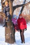 Moeder met kinderen op boom in de winter Royalty-vrije Stock Fotografie