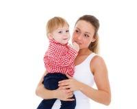 Moeder met kleine baby Stock Foto's