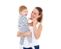 Moeder met kleine baby Stock Afbeeldingen