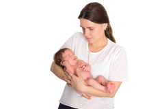 Moeder met pasgeboren op handen Stock Afbeelding