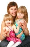Moeder met twee dochters Stock Fotografie