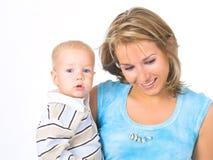 Moeder met weinig jongen royalty-vrije stock foto's