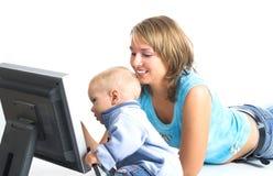Moeder met weinig jongen royalty-vrije stock afbeelding