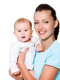 Moeder met zoet pasgeboren kind Stock Afbeeldingen
