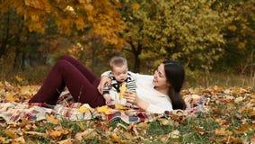 Moeder met zoon in de herfstpark stock footage