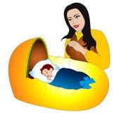 Moeder tederheid voor de nieuwe geboren baby Stock Afbeelding
