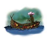 Moederaard in een boot van bladeren wordt gemaakt dat Stock Afbeelding