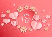 Moederdag en van het hartenontwerp elementen Vector illustratie Roze Achtergrond met parels, Harten stock fotografie