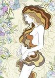 Moederdagkaart met mooie zwangere vrouw, vectorillustratie Stock Afbeeldingen