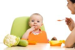Moederlepel die haar die baby voeden op wit wordt geïsoleerd stock afbeelding