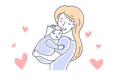 Moederliefde en baby motherhood Mamma die een vectorillustratie van de kindhand getrokken stijl koesteren stock illustratie
