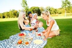 Moeders en jonge geitjes die picknick hebben Stock Foto