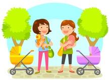 Moeders met babys stock illustratie