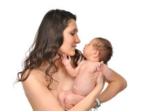 Moedervrouw die 3 weken houden van het de babyjonge geitje van het zuigelingskind het meisjes Stock Foto's