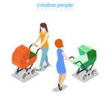 Moederwijfje die met kinderwagen vlakke vectormensen wandelen Royalty-vrije Stock Foto