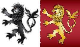 Moedig het silhouetembleem van de gebrul heraldisch leeuw Royalty-vrije Stock Foto's