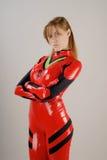 Moedig meisje in rood kostuum Royalty-vrije Stock Afbeelding