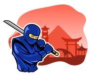 Moedige Ninja In Front Of Chinese Building Facade vector illustratie