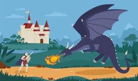Moedige ridder of zwaardvechter die met draak tegen middeleeuws kasteel op achtergrond vechten Legendarische heldenstrijd tegen vector illustratie