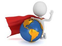 Moedige super zakenman en Aarde Stock Foto