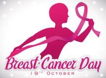 Moedige Vrouw met het Roze Lint Vechten in de Dag van Borstkanker, Vectorillustratie Royalty-vrije Stock Afbeeldingen