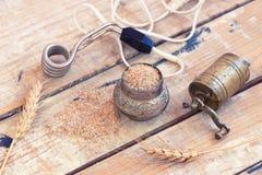 Moedor de café, açúcar, trigo e calefator tubular imagem de stock royalty free