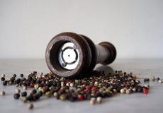 Moedor de pimenta com o multi grão de pimenta colorido Fotografia de Stock Royalty Free