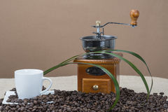 Moedor e copos de café em algum feijão Imagem de Stock