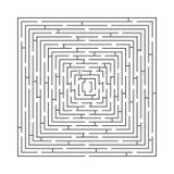 Moeilijk en lang labyrint onderwijsspel in de vorm van een vierkant vector illustratie