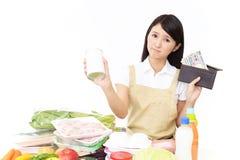 Moeilijke Aziatische huisvrouw stock afbeeldingen