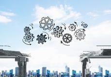 Moeilijkheden in bedrijfs en groepswerkconcept Stock Afbeeldingen