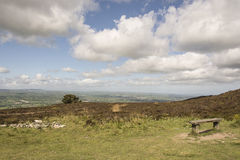 Moel famau taking in the view. Moel Famau is the highest hill within the Clwydian Range, formerly Flintshire Range, on the boundary between Denbighshire and Royalty Free Stock Images